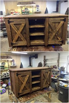 This pallet wood venture is very simple to make as it contains just three racks and two major cupboards. You can put some little things in this particularly the nourishment things. You can place it in your place where you need to store special things.