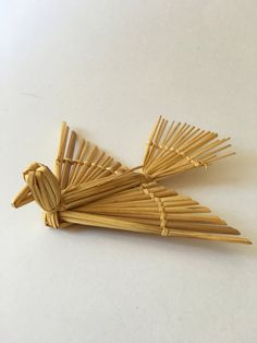Vintage Swedish Straw Dove Bird Christmas Ornament