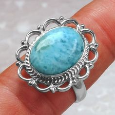 7.03 Gm 925 Sterling Silver Natural Larimar Rings 9 US Oval Design Top Jewelry $