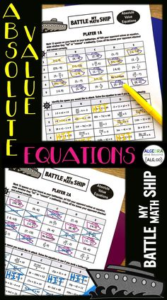 Absolute Value Equations Activity - Battle My Math Ship Game Math Teacher, Teaching Math, Skills To Learn, Learning Skills, Absolute Value Equations, Middle School, High School, Solving Linear Equations, Irrational Numbers