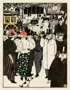 Félix Vallotton,  Le Bureau d'omnibus. Les Rassemblements, 1, 1895 / 1902 on ArtStack #felix-vallotton #art