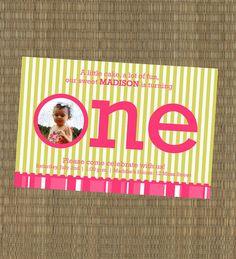 Girl's First Birthday Invitation Custom photo by elskr79 on Etsy, $15.00