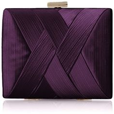 La Regale Satin Criss Cross Clutch (145 BRL) ❤ liked on Polyvore featuring bags, handbags, clutches, satin handbags, satin clutches, purple purse, cross purse and purple handbags