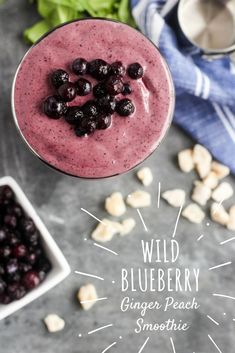 Wild Blueberry Ginger Peach Smoothie from Street Smart Nutrition Smoothies For Kids, Yummy Smoothies, Yummy Drinks, Healthy Drinks, Smoothie Recipes, Healthy Snacks, Yummy Food, Drink Recipes, Delicious Recipes