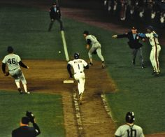 """""""A little roller up along first.... Behind the bag.... It gets through Buckner! Here comes Knight, and the Mets win it!"""""""