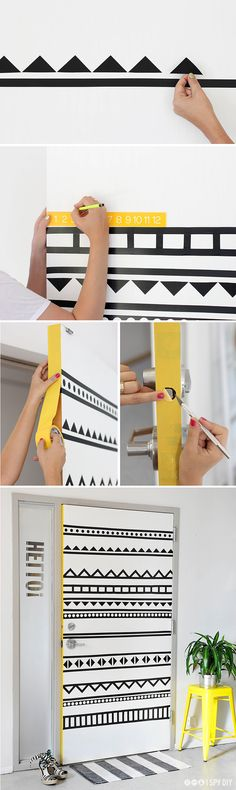 Cusomisation graphique dune porte avec du masking tape I washi tape customized door
