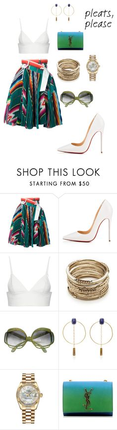 """Brunchin'"" by elleystyles ❤ liked on Polyvore featuring Sacai, Christian Louboutin, T By Alexander Wang, Sole Society, Christian Dior, Isabel Marant, Rolex and Yves Saint Laurent"