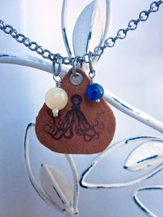 Octopus Leather Charm Necklace, Image Printed On Leather,  Gift for Her, Holiday Shopping, Short Choker Necklace, Vintage Illustration by SimplyMim on Etsy