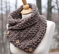 CROCHET PATTERN - BEGINNER Hand Knit Boston Harbor Scarf in Taupe, Shoulder Wrap with 3 small coconut buttons, Office Snuggy This listing is for the
