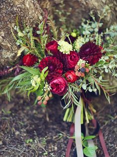 Such beautiful deep red and berry hues | sleepy hollow bouquet