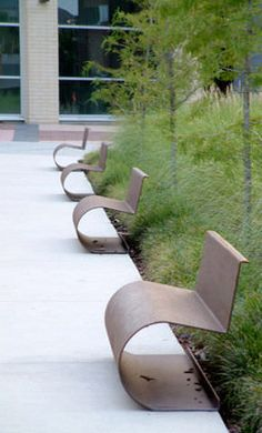 Stylishly curved CorTen steel, contemporary design with demure appearance - Morella benches by Escofet Garden Seating, Outdoor Seating, Outdoor Decor, Landscape Architecture, Landscape Design, Garden Design, Urban Furniture, Street Furniture, Furniture Outlet