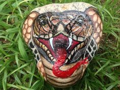 King Cobra  Hand Painted Garden River Rock  5 x 5 by PaintingsbyDe, $19.99