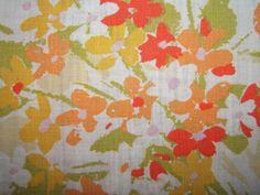 Vintage FQ Red and Orange Floral by LEFTOVERNOTION on Etsy, $1.15