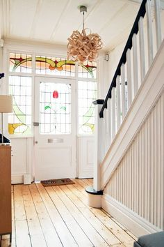 A staircase is an excellent place to hang a chandelier for greatest effect. Hence, designing the staircase well is critical as a way to play up the attractiveness of the interior space. An interior staircase often forms the focus of… Continue Reading → House Design, House, Home, Edwardian Hallway, House Restoration, House Styles, New Homes, House Interior, Stained Staircase