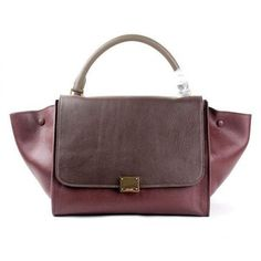 044a31ffde Cheap Celine Stamped Trapeze Shoulder Bag-88037 Red Brown Khaki Leather