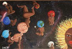 Mother earth and the sisters of the Milky Way Black Love Art, Black Girl Art, Art Girl, African American Art, African Art, Art Et Design, Black Art Pictures, Black Artwork, Afro Art