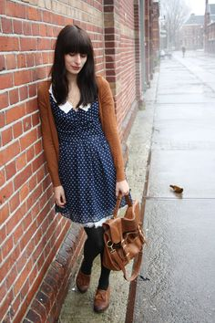 "Lets go to church Im ready now""... polka dot dress, stockings and a warm sweater for those cold days"