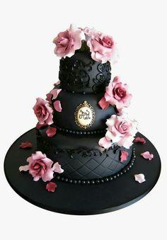 Black cake pink flowers