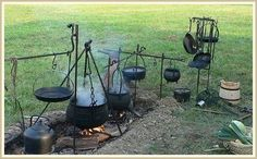 medieval kitchen - Google Search Maybe make from a steel 55 gallon barrel? Cut center section of the barrel out and weld/rivet the top lip back on so that the removable lid can be used to close the 'braizer for storage?