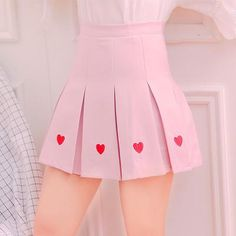 HIGH WAIST HEART PLEATED SKIRT sold by ohlala-harajuku. Shop more products from ohlala-harajuku on Storenvy, the home of independent small businesses all over the world. Girly Outfits, Pretty Outfits, Cute Outfits, Fashion Outfits, Harajuku Fashion, Kawaii Fashion, Looks Kawaii, Kawaii Clothes, Cute Skirts