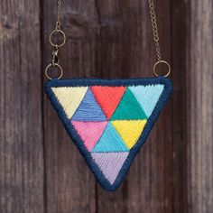 Triangle necklace beautiful embroidery of rainbowcolored by Aipiyi, $35.00