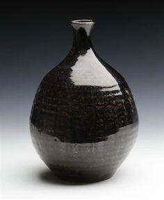 Antiques Japanese tenmoku glazed stoneware vase, 18/19th c.