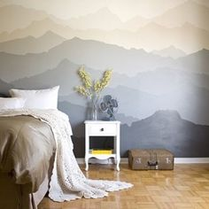 """""""The """"Mountain Mural"""" Bedroom Makeover (Click link above in our profile to read the post on Apartment Therapy!)"""""""