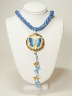 Blue Butterfly Kumihimo Necklace SRAJD 3520 by GrnEydDesigns, $72.00
