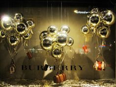 Frames with ballon clusters Burberry Christmas window display Amsterdam 2012
