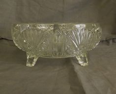 Vintage Large Pressed Glass Footed Bowl