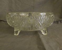 Vintage Large Pressed Glass Footed Bowl