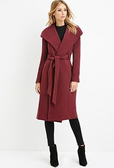 Contemporary Hooded Longline Coat | Forever 21 - 2000174367