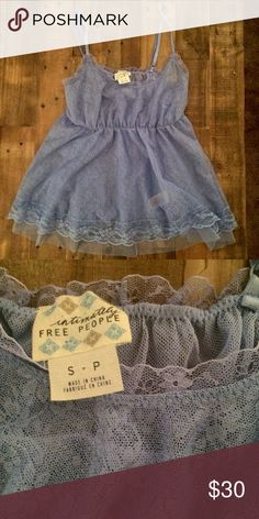 🌜FREE PEOPLE Intimately Nightie🌛 NWOT brand new never worn!! Ethereal & fairylike adorable nightie in a unique periwinkle blue/purple shade. Elastic under bust. Sheer lace. Flowy part has a mesh underlining. Sold out online super rare!! So lovely I wish it fit me!!!! Free People Intimates & Sleepwear Chemises & Slips