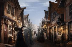 A cobblestoned shopping area for the wizarding world, where Hogwarts students can purchase necessary supplies