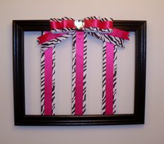 pink zebra room | Zebra Hairbow Holder Hot Pink and Zebra Room Decor | FotoFuze