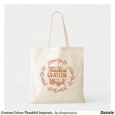 Custom Colors Thankful Inspirational Typography Tote Bag