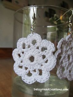 White Lace Daisy Earrings Crocheted Beaded by DaisyHeadCreations~ These are some of my favorite earrings! Lovely simplicity!