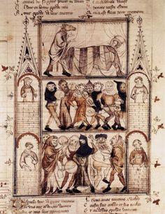 MINIATURIST, French Illustration to a novel c. 1320 Pen drawing, 460 x 330mm Bibliothèque Nationale, Paris