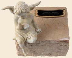 Angel Cremation Urn for infants, with a Black Solid Marble Base ...