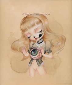 """Mirror Of My Soul LIMITED EDITION print signed numbered Simona Candini """"Bones And Poetry"""" lowbrow surreal big eyes sugar skull gothic art on Etsy, $30.00"""