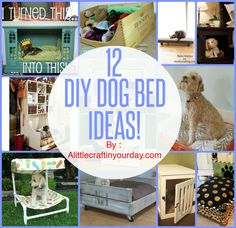 12 Awesome #DIY Dog Beds! If you have an old TV station, this is a must to check out! #dogbeds
