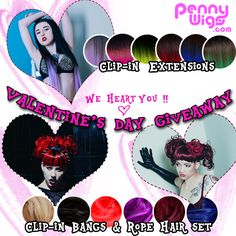 Valentine's Day Hair Extension Giveaway! Enter at PennyWigs.com/vday Contest ends Feb. 18th, 2015.
