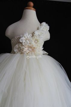 Custom made Ivory mixed flower girl tutu by MagicTulleCouture