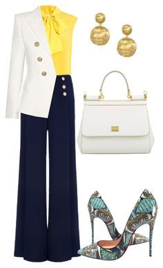 """""""LOTD"""" by arta13 ❤ liked on Polyvore featuring Moschino, Ted Baker, Balmain, Christian Louboutin, Dolce&Gabbana and Marco Bicego"""