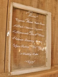Barn wedding menu