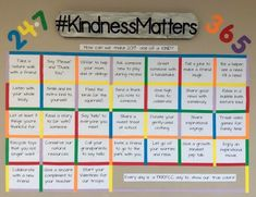 A wall-sized calendar with #kindness suggestions for your character building!