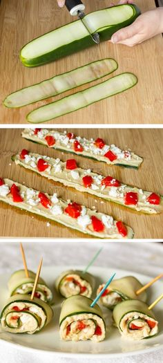 Mediterranean Cucumber Roll Ups - cucumber, roasted garlic hummus, roasted red pepper, and tangy feta. A quick, easy, healthy recipe for an appetizer or light lunch.