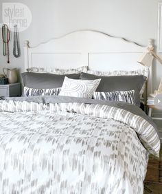 Pair our tallulah duvet cover (named after one of Erin's dogs) with its coordinating bed sheets or go bold in your bedroom with sheets in a strong solid colour, like the medium-grey.