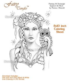 New Fairy-Tangles 8x10 inch coloring sheet by Norma J Burnell https://www.etsy.com/listing/227032518/opal-and-lupine-unique-fairy-tangles?ref=listing-shop-header-0