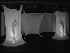 A curtain can have lights from behind and create silhouette, but it kind of goes against the minimalistic approach Set Design Theatre, Stage Design, Scenography Theatre, Stage Set, Scenic Design, Light Art, Light And Shadow, Installation Art, Theater